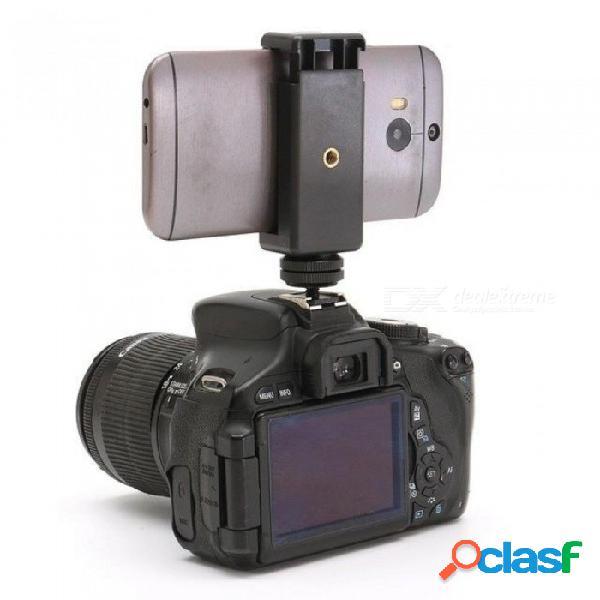 """Adaptador de tornillo para zapata con flash de 1/4"""", soporte para clip de teléfono con montura para trípode y flash para cámara dslr, para cámara réflex digital, negro"""