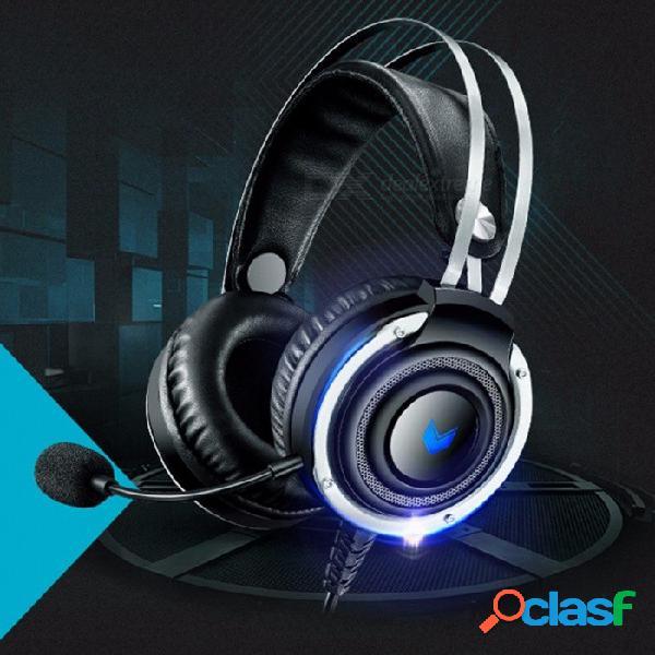 Auriculares para juegos vh100s auriculares con micrófono bajo estéreo y auriculares con cable y retroiluminación negra