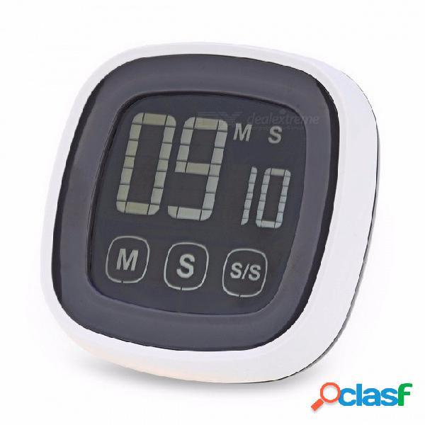 Estilo antiguo pantalla táctil de plástico cocina temporizador zumbador alarma cronómetro con luz de fondo led y pantalla lcd digital para uso nocturno gris