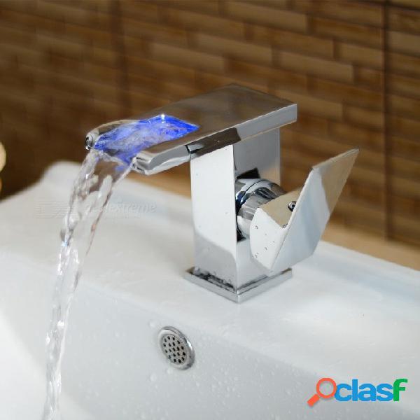 Led rgb cubierta de latón montado válvula de cerámica un agujero cromo, grifo del fregadero del baño w / sola manija