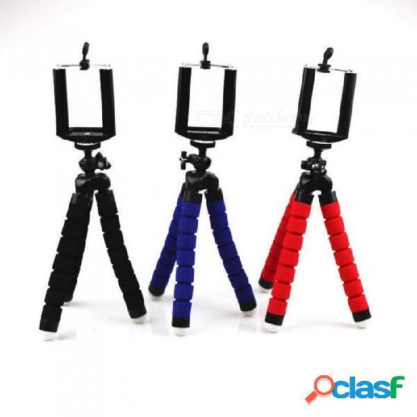 Mini trípode de pulpo de esponja flexible para iphone samsung xiaomi huawei trípode de teléfono inteligente soporte de soporte para cámara gopro dslr montaje azul