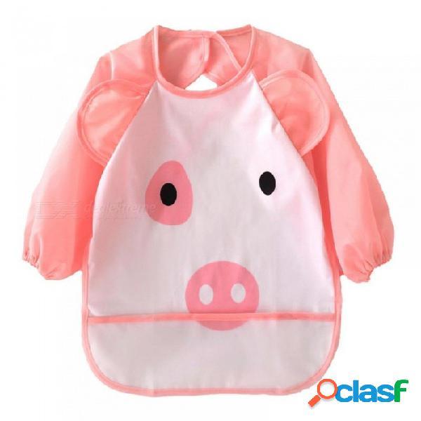 Animales de dibujos animados lindo baberos de bebé de manga larga delantal delantal de alimentación suave a prueba de agua coloridos niños eructo babero ropa de cerdo