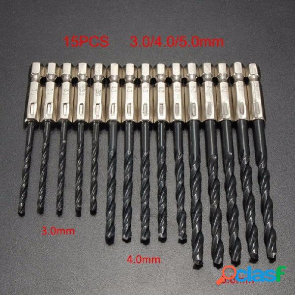 """Broca helicoidal hss con recubrimiento de titanio con mango hexagonal de 1/4"""" para accesorios de herramientas eléctricas de metal 3.0-5.0mm - 15 piezas negro"""
