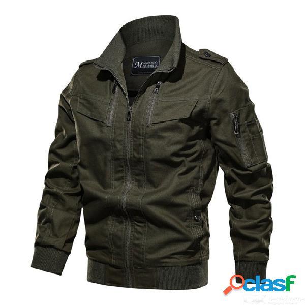 Caída militar diaria de los hombres / chaqueta regular de invierno color sólido soporte escote manga larga algodón
