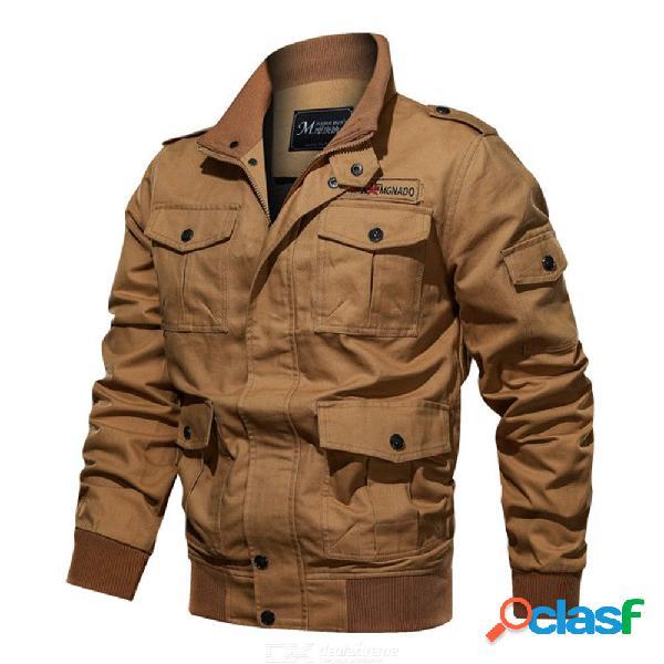 Diario de los hombres / saliendo vintage / camiseta militar de talla grande, color sólido, manga larga, algodón bordado