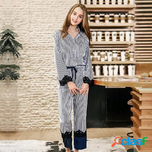 2018 pijamas de tela de seda imitado para mujeres ropa de noche para mujer traje de dos piezas azul / m