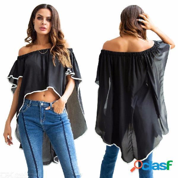 Camiseta de las mujeres manga corta de murciélago cuello de slash volantes camisas ocasionales flojas ocasionales irregulares