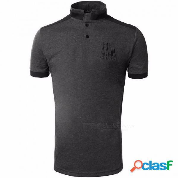 Camiseta de los hombres ocasionales del bordado del verano, camisetas de la camiseta de la manga corta del cuello del soporte para los hombres gris oscuro / m