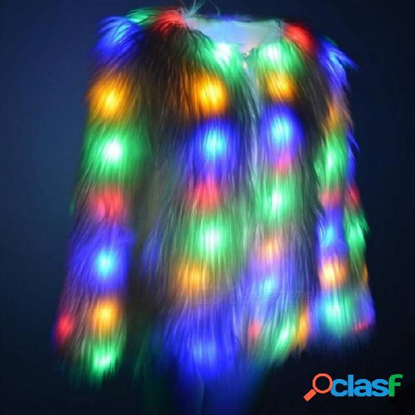 Festival de piel de visón led abrigo de piel de visón chaqueta de piel luz de halloween parka ovejas pelo navidad cosplay bola desgaste cardigan más s