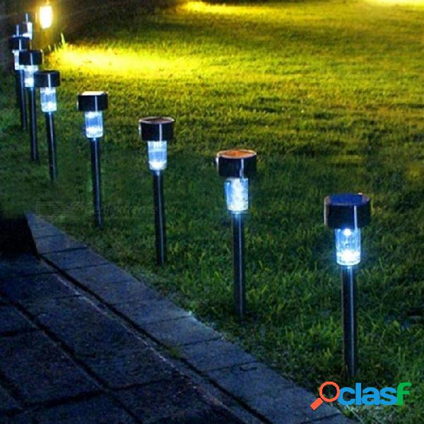 Luz solar led para la decoración del jardín camino al aire libre led impermeable luces de césped de calle paisaje de la calle patio, lámpara 10 pc blanco