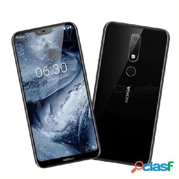 Nokia x6 5.8 pulgadas octa-core android sim con teléfono inteligente lte con teléfono inteligente con batería de 3060mah, 3 cámaras, huella digital blanca