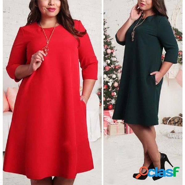 Vestido de talla grande para mujer vestido redondo sólido con cuello redondo vestido de manga tres cuartos