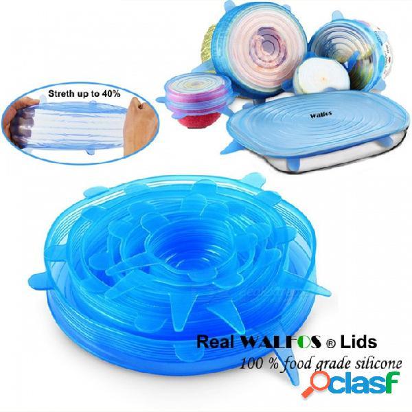 Walfos universal 100 cubierta de la tapa del estiramiento del silicio real de la categoría alimenticia, sartén del silicón del envoltorio del tazón de la comida del saran del silicón para la