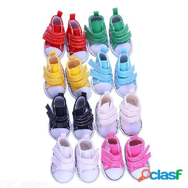 Zapatillas de deporte de mezclilla mini zapatos de lona para accesorios de vestir de muñeca american girl de 14 pulgadas