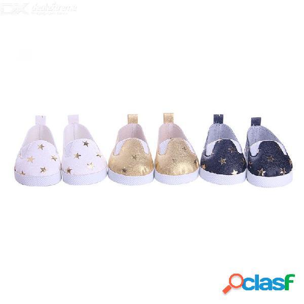 Zapatos De Bling Bling Board Zapatillas De Deporte Lindas Con Estrellas Brillantes Para La Muñeca American Girl De 18 Pulgadas