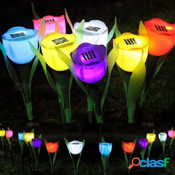 Energía solar exterior led césped colorido tulipán flores lámpara luz para patio jardín césped camino paisaje decoración azul