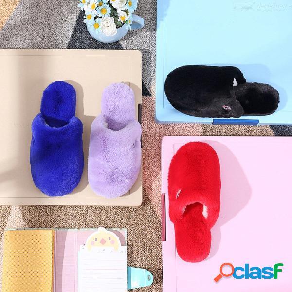 Invierno cálido zapatillas de piel hogar interior dormitorio zapatos de felpa calzado mujeres zapatillas de felpa