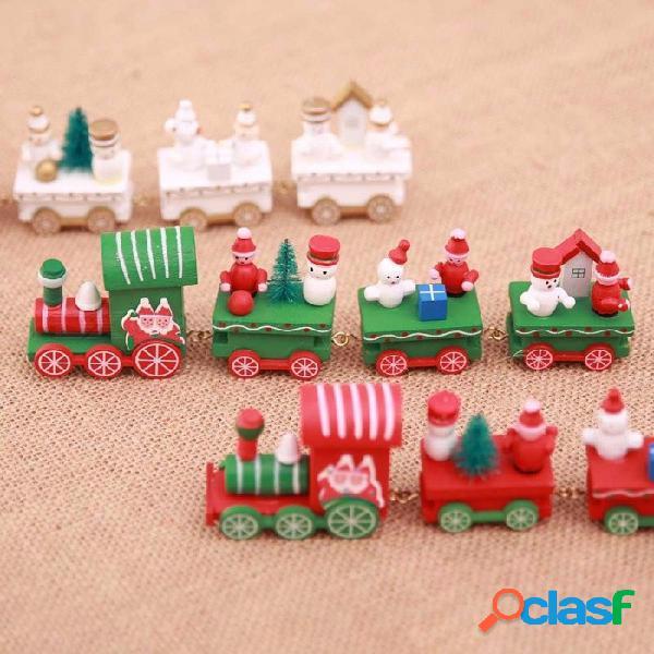 Madera navidad tren de navidad regalo regalo mini tren de madera modelo vehículo juguetes para niños rojo