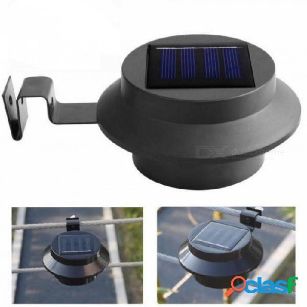 Negro 3 led jardín luz solar lámpara de camino de pared de jardín solar al aire libre impermeable al aire libre para entradas al aire libre partes 0-5w / blanco cálido