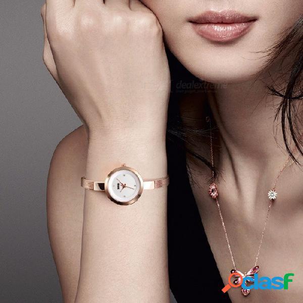 Reloj de pulsera de cuarzo con esfera fina de diamante skmei 1390, reloj de mujer con correa delgada de acero inoxidable de oro rosa.