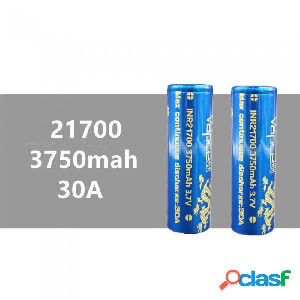 2 piezas vapcell 21700 3750 mah 30a 3.7 v batería de litio de alta capacidad recargable, continua 30a