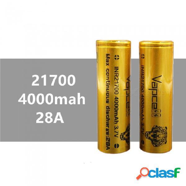 2 piezas vapcell 21700 4000 mah 28a 3.7v batería de litio recargable de alta capacidad, continua 28a