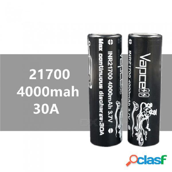 2 piezas vapcell 21700 4000 mah 30a 3.7v batería de litio de alta capacidad recargable, continua 30a