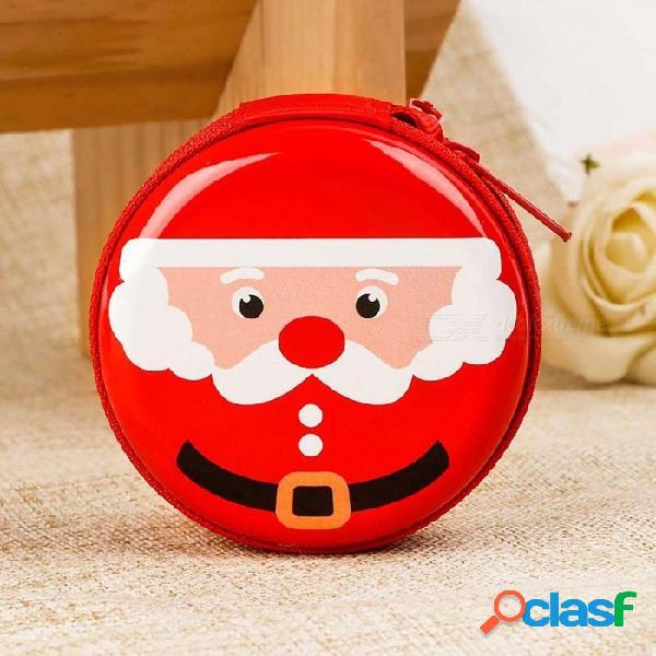 Creativo Lindo Regalo De Los Niños De Navidad Regalo De Los Auriculares De Santa Claus Año Nuevo Moneda Redonda Con Cremallera Bolso Monedero Oro