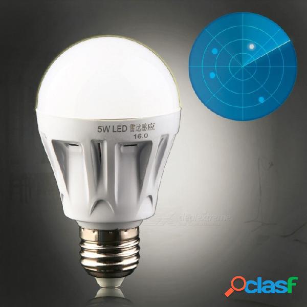 E27 led sensor de movimiento de radar de microondas sensor de luz ambiental bombilla ac85-265v 5w para pasillo garaje garaje