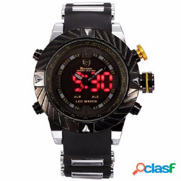 Lujo goblin tiburón reloj deportivo para hombre moda al aire libre digital led multifunción relojes de pulsera a prueba de agua relogio masculino sh168 negro