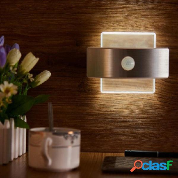 Recargable led infrarrojo pir sensor de movimiento luz nocturna inalámbrico lámpara de pared led encendido / apagado automático para niños camino escalera pared nevera color blanco / rectángu