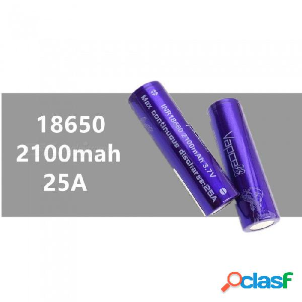 Vapcell 2pcs 18650 2100 mah 25a 3.7 v baterías de litio recargables de alta capacidad, continuo 25a - púrpura
