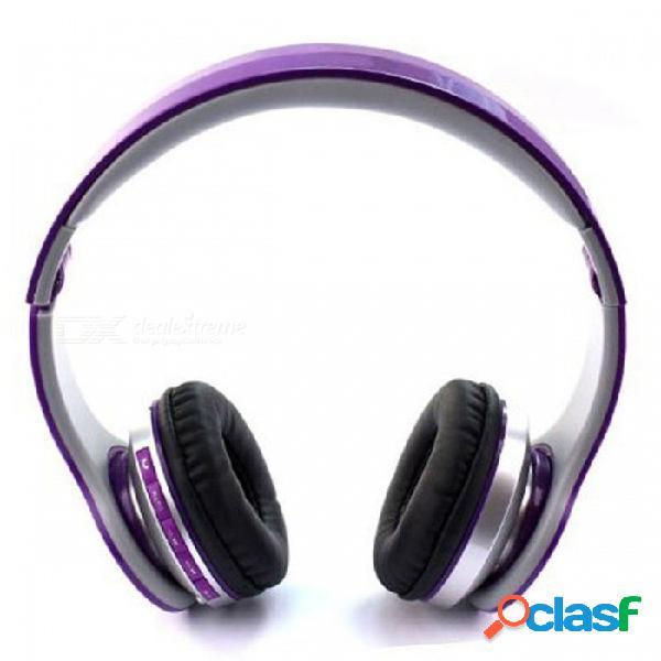 Audífonos inalámbricos para el oído ojade, auriculares de plástico dinámico con control de volumen, micrófono - púrpura