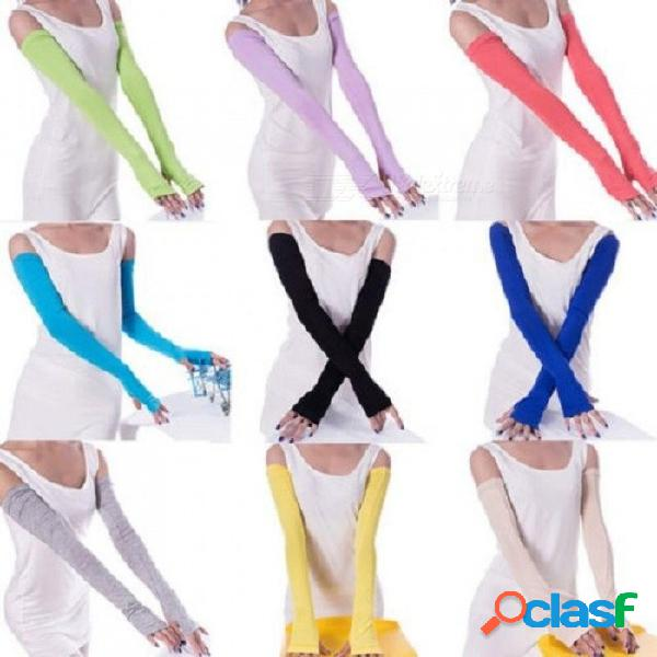 Mujeres acogedoras brazo de brazo más cálido de algodón guantes sin dedos largos accesorios de ropa de moda color negro gris opcional 1 par