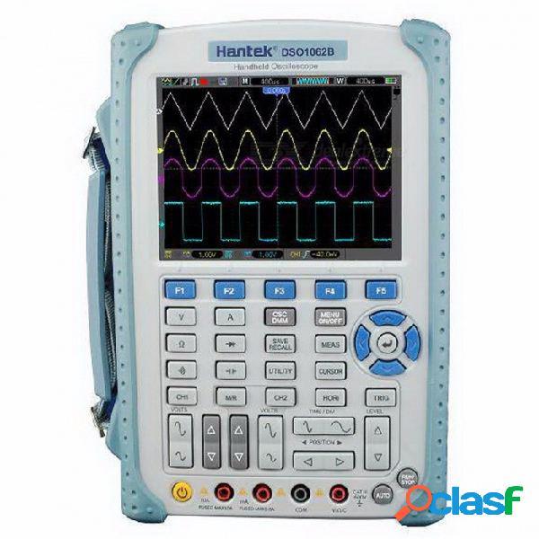 Osciloscopio de mano hantek dso1062b, 2 canales 60mhz 1gsa / s frecuencia de muestreo 1m de profundidad de memoria 6000 cuentas dmm con barra de gráficos analógica blanca
