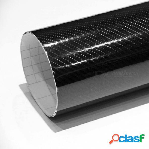 Premium 30 x 152 cm 4d textura super brillante 5d película de carbono adhesivo de vinilo del coche etiqueta engomada - negro