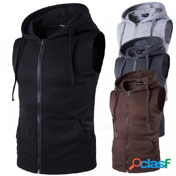 Suéter con capucha de los hombres de la primavera, con capucha de color sólido bolsillo de invierno chaqueta con capucha sudaderas con capucha para hombres negro / s