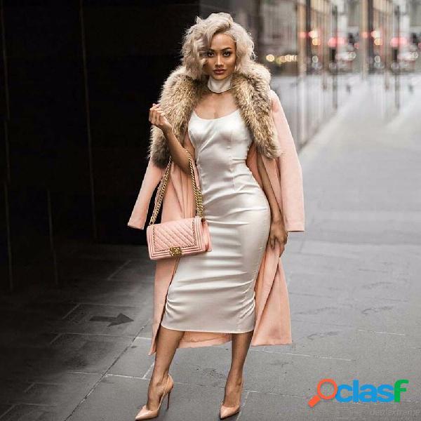 Abrigo de lana de otoño invierno elegante chaqueta de color sólido cuello de piel abrigo largo para mujeres
