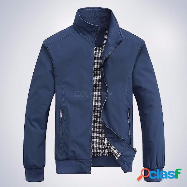 Chaquetas y abrigos de bombardero con cremallera del cuello del soporte de la ropa deportiva delgada de los nuevos hombres de la moda
