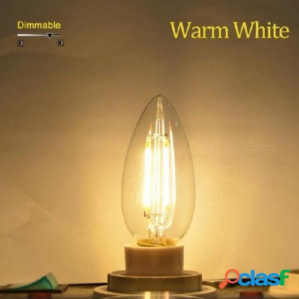 E12 e14 e17 led vela bombilla 2w 4w 6w c35 led lámpara de diodo retro edison filamento bombillas ac 110v 220v bombilla lámpara de alto lumen 2w a / e12 110v / blanco cálido