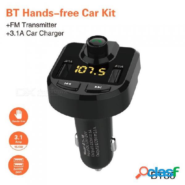 Reproductor de mp3 para coche universal bluetooth para coche transmisor de fm adaptador de radio inalámbrico qc3.0 usb de carga rápida reproductor de mp3 negro