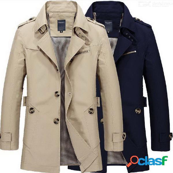 Abrigo con cuello caído de manga larga para hombre, abrigo de ajuste slim sólido causal para hombres