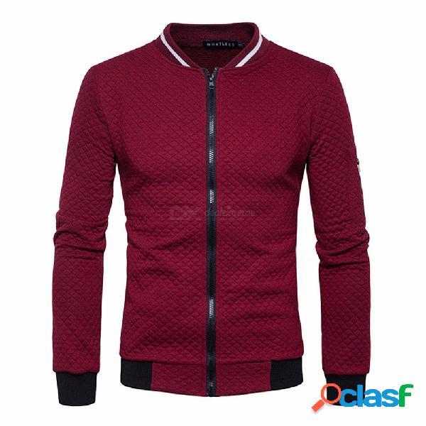 Abrigo de algodón con cremallera de manga larga para hombre con cuello alto, casual fit slim fit patchwork para hombres