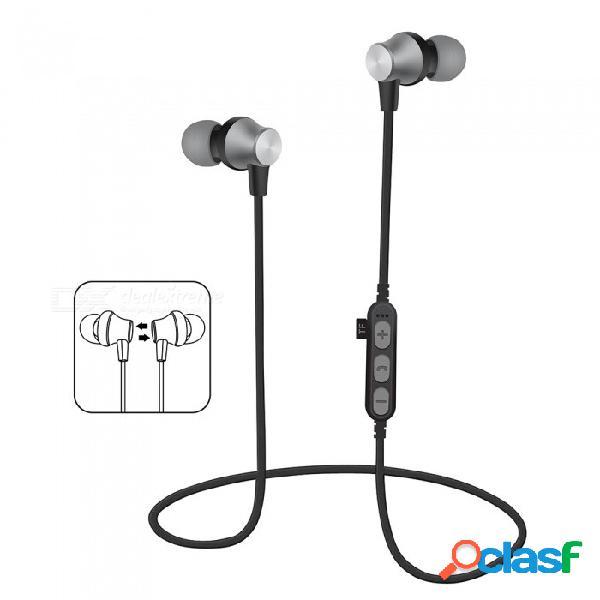 Auriculares bluetooth v4.2 auriculares estéreo a prueba de sudor magnéticos auriculares inalámbricos con micrófono para deporte