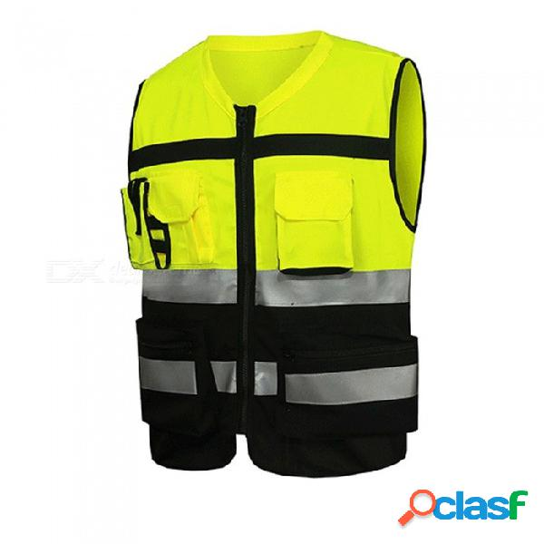 Conducir motocicleta chaleco reflectante traje de seguridad moto advertencia chaqueta de alta visibilidad chaleco uniforme multi / l