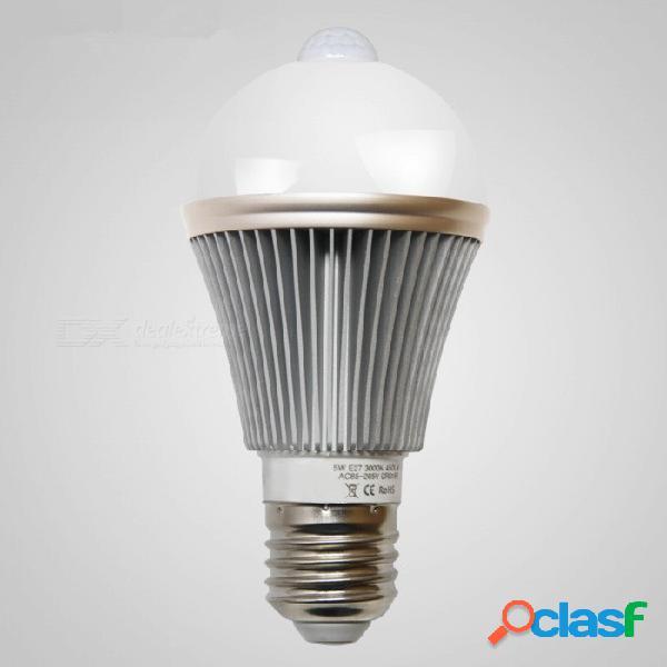 Mifxion e27 5w pir sensor de movimiento infrarrojo bombilla led control de luz lámpara led luz nocturna automática iluminación interior para escaleras
