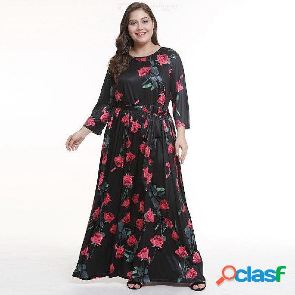 Vestido maxi de verano con tallas grandes o-cuello estampado floral vestidos de una línea para mujeres