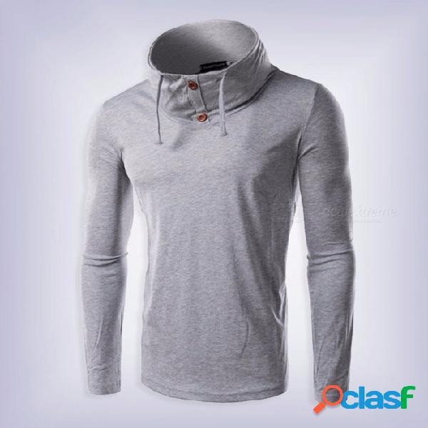Cuello alto con cuello alto eslinga botón delgado manga larga camiseta de los hombres, camiseta masculina casual tops negro / m