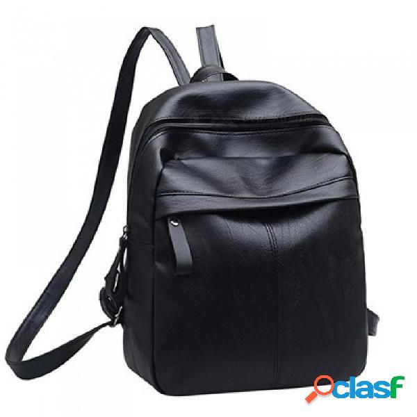 Cuero de la pu de las mujeres mochila de moda mochilas escolares sólidas para las niñas adolescentes de alta calidad casual mujer negro mochilas 26x12x31cm / negro