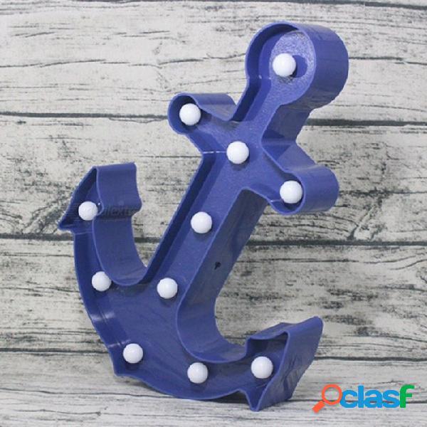Forma de ancla fresca luz de noche azul marino pirata marinero led lámpara marquesina señal para decoración de habitación interruptor cosplay accesorios azul marino